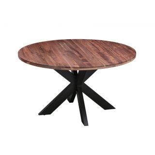 Eettafel-rond-walnoot-met-sterpoot-vierkant